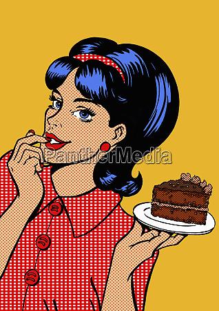 mloda kobieta kuszony przez kawalek ciasto