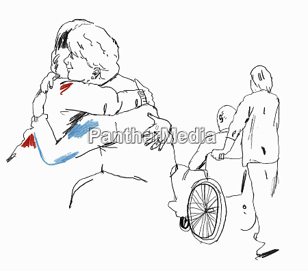 daughter and care worker caring for