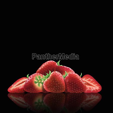 frische erdbeeren und pferen