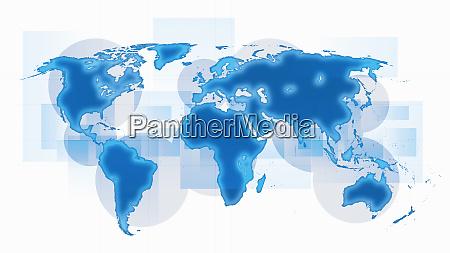mapa swiata z niebieskimi kontynentami na