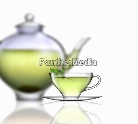 mietowa herbata filizanka do herbaty talerz