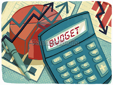 calculator graphs and financial figures calculating