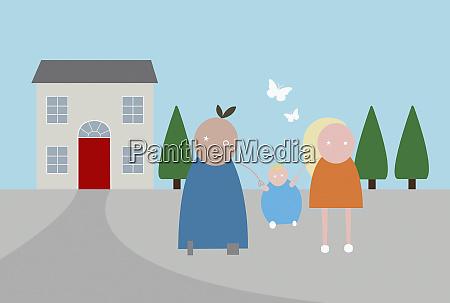 rodzina przed domem