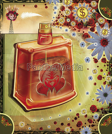 large perfume bottle spraying flowers and