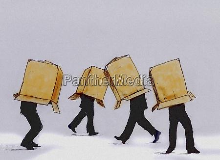 biznesmeni chodzenie kartonowe pudelko obejmujace glowe