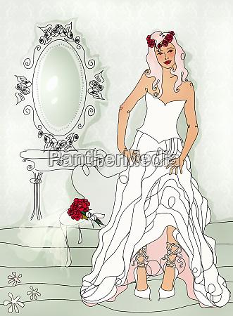 beautiful bride getting ready wearing wedding