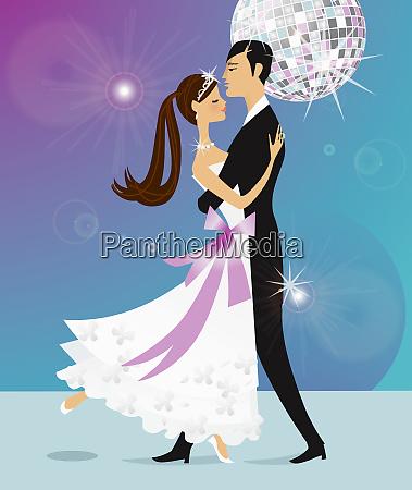 well dressed bride and groom dancing
