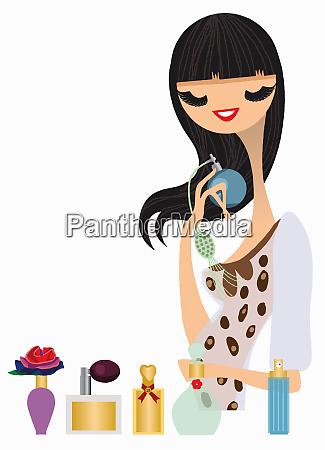 kobieta probuje perfum