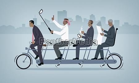 rower tandemowy ze zla prace zespolowa