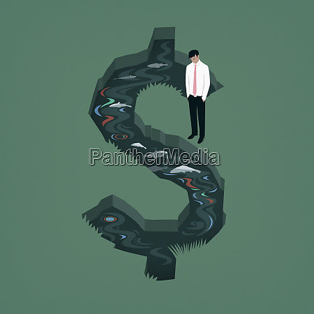 businessman looking at polluted dollar sign