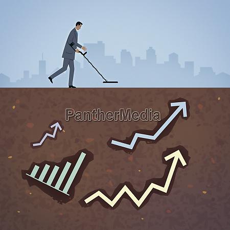 biznesmen poszukiwania graf jako oznaki sukcesu