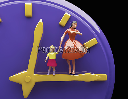 mother and daughter standing on clock