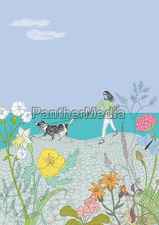 woman walking dog along beach among