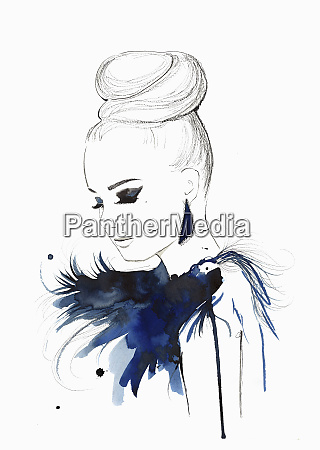 elegant woman wearing hair bun and