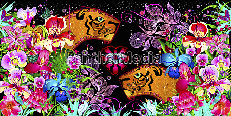 bright colorful tropical flowers surrounding tigers