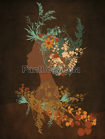 profile of elegant woman with flower