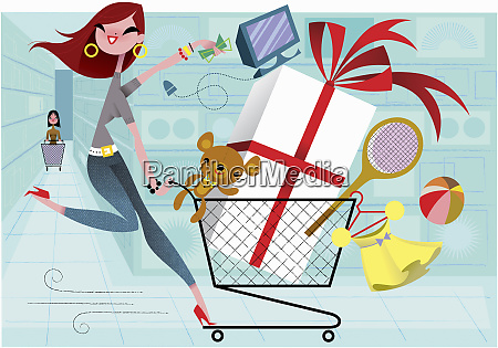 enthusiastic woman on shopping spree running