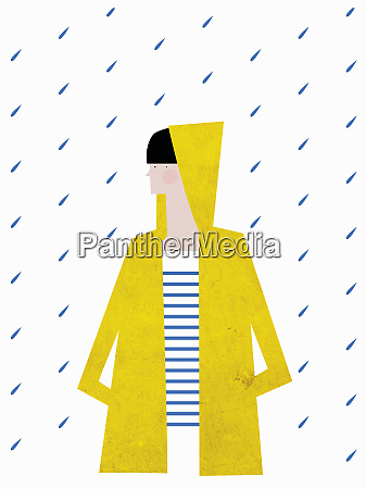 dziewczyna ubrana w zolty plaszcz przeciwdeszczowy