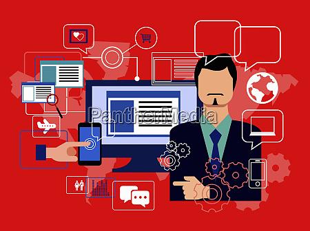 biznesmen z wykorzystaniem technologii cyfrowej do