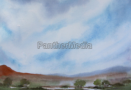 watercolour painting of hills and lake