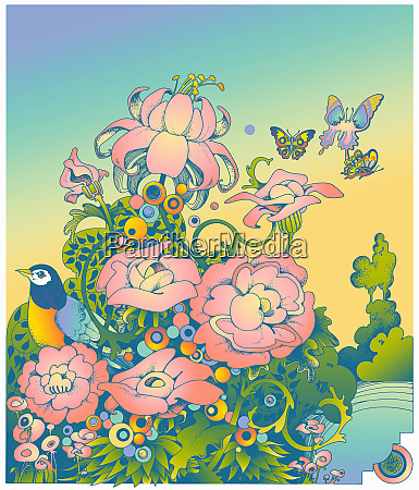 pastel color flowers with butterflies and