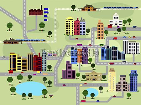 rozmieszczenie drog i budynkow w miescie
