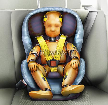 test zderzenia dziecka manekina w foteliku