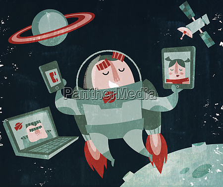 astronaut in jet pack using mobile