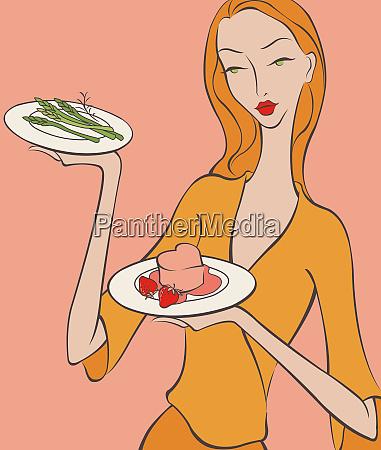 piekna kobieta przynoszaca szparagi i deser