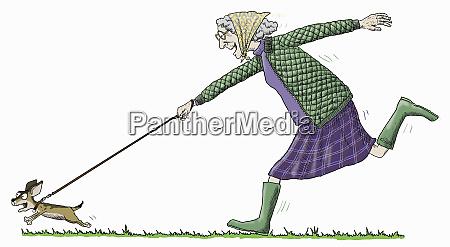 starsza, kobieta, zabawy, działa, aby, nadążyć, z - 26020104