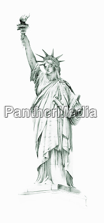 watercolor painting of the statue of