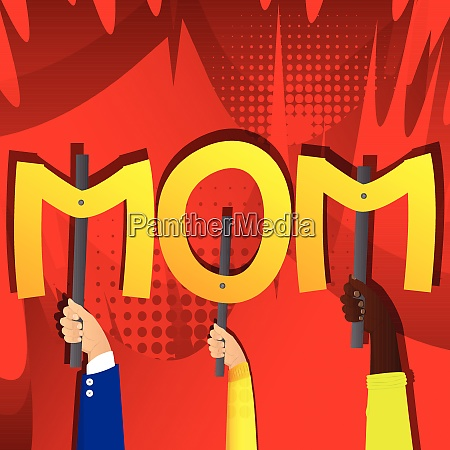 hands holding the word mom