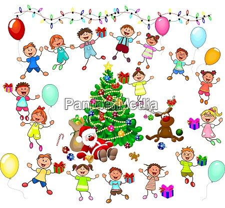 santa i radosne dzieci