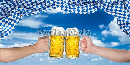 cheers hands oktoberfest flag