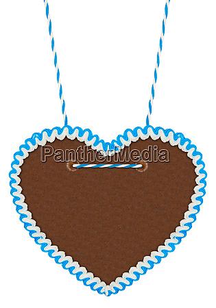 empty blue white gingerbread heart