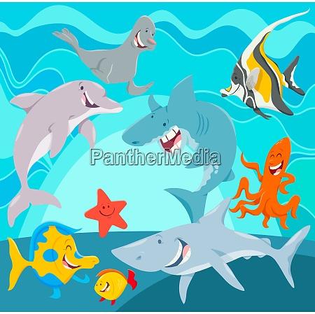 morskie zwierzeta postaci z kreskowek pod