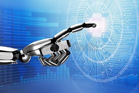 robot dotykajac digital circuit board