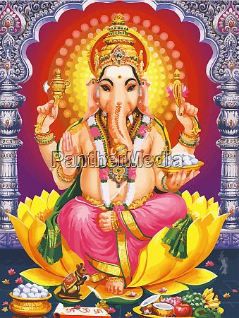 ganesha hinduski bozek chrystus ilustracja mitologia