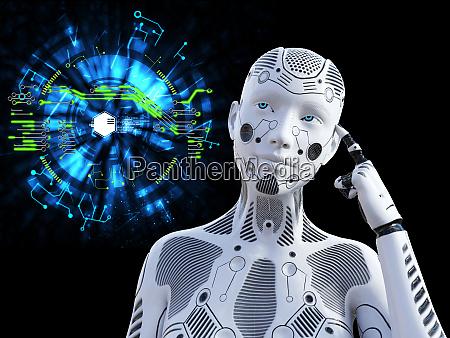 renderowanie 3d kobiecego robota myslac o