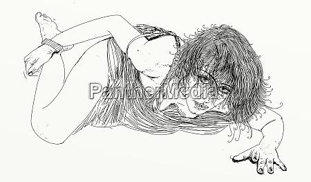 kobieta, erotyczne, wyrafinowane, i, zmysłowe, linia, zaprojektowana - 26138920