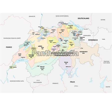administracyjna i polityczna mapa wektorowa szwajcarii