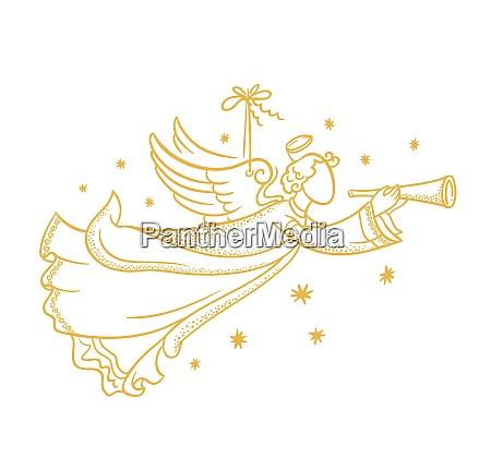 zloty wyizolowany aniol sylwetka wiszace na