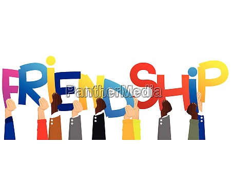 hands holding the word friendship