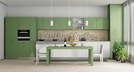 zielona i biala nowoczesna kuchnia renderowanie