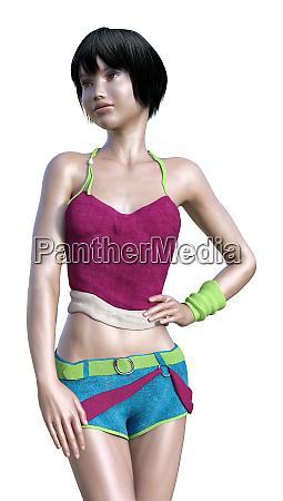3d rendering teenager girl on white