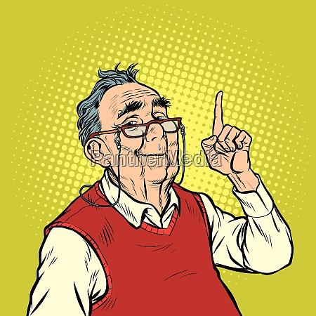 gest mezczyzna palec podeszlym wieku usmiech