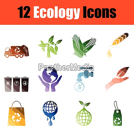 set of ecology icons gradient color