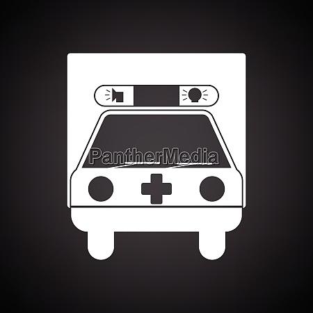 ambulance car icon black background with