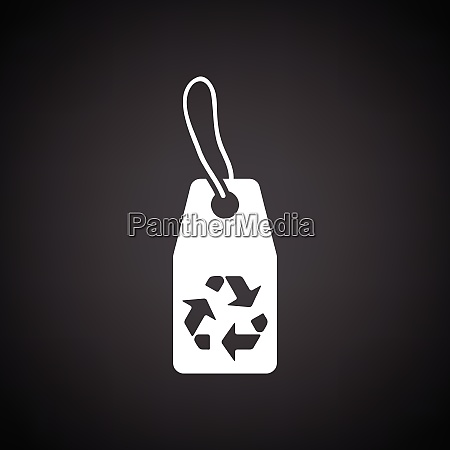 tag and recycle sign icon black
