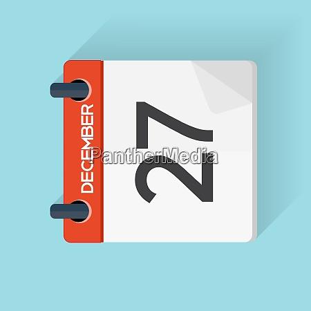 27 grudnia kalendarz flat daily icon